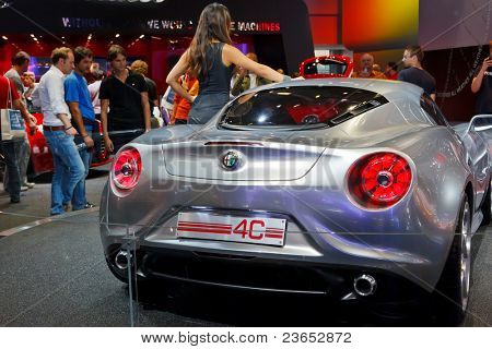 FRANKFURT - SEP 17: Alfa Romeo 4C Sport car shown at the 64th Internationale Automobil Ausstellung (IAA) on September 17, 2011 in Frankfurt, Germany.