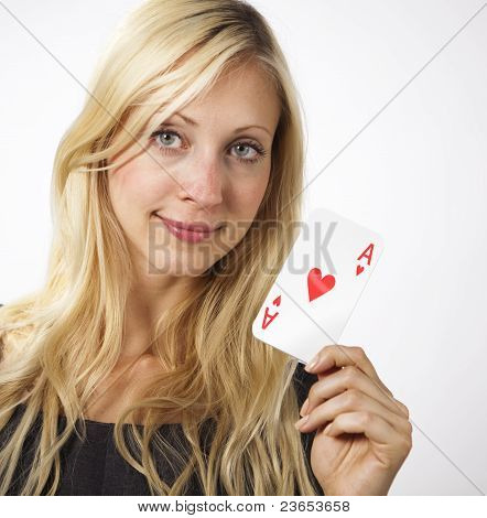 Woman Shows Ace Card