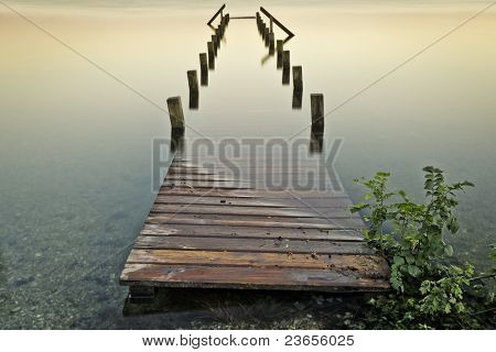 An old jetty at Starnberg Lake in Germany