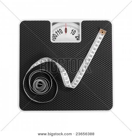 Old bathroom scale with measuring-tape.