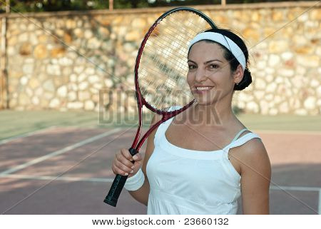 Happy Tennis Player Woman