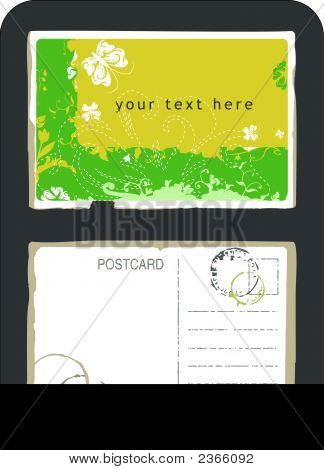 Green Postcard With Swirls