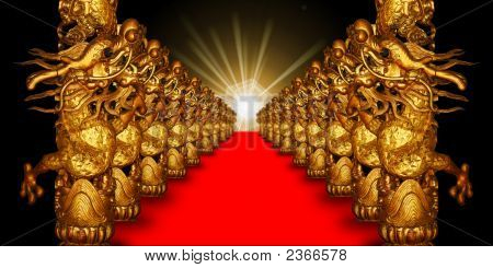 Red Carpet Converge With Dragon Poles