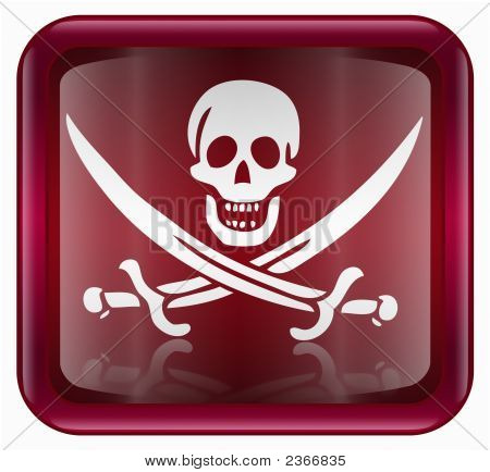 Pirate Icon, Red, Isolated On White Background