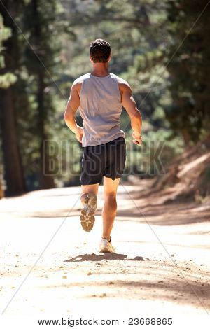 Young man running along country lane