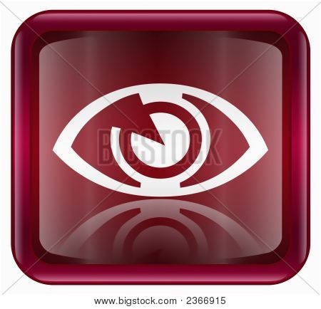 Eye Icon, Red, Isolated On White Background