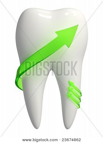 White Tooth Icon With Green Arrows - 3D