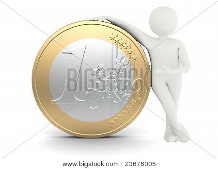 White Man Standing Near Big Size Euro Coin