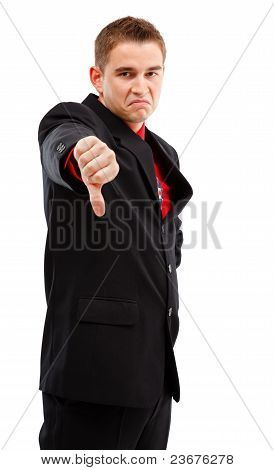 Business Man Showing Thumbs Down