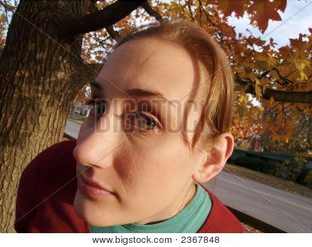 Wide Angle Glaring Woman