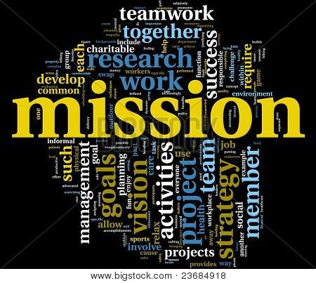 Mission and business management concept in word tag cloud isolated on black