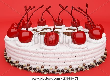 I Love You: Cake With Cherries Over Red