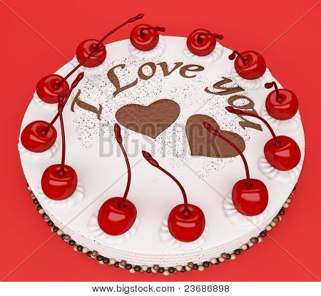Top View Of Cake With Cherries On Red