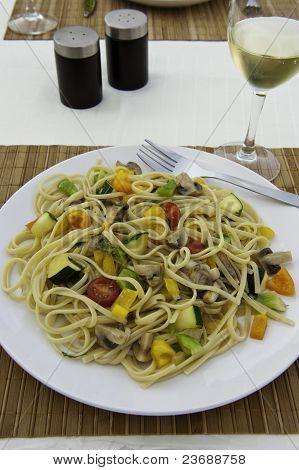Colorful Vegetable Linguini