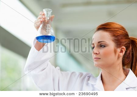 Scientist looking at a blue liquid in an Erlenmeyer flask