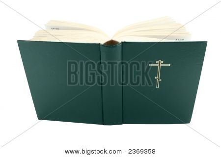 Opened Bible Book With Clipping Path