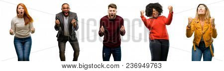 poster of Group of cool people, woman and man happy and excited celebrating victory expressing big success, po