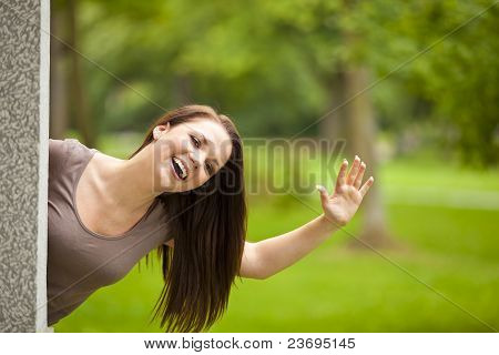 laughing brunette woman