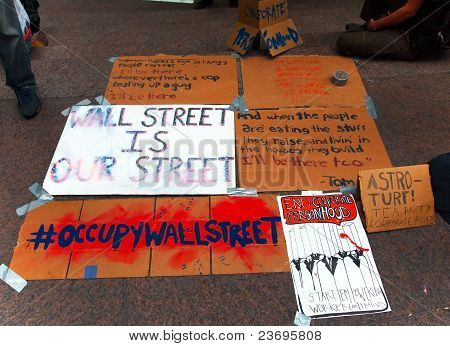 Protest Signs For Occupy Wall St.
