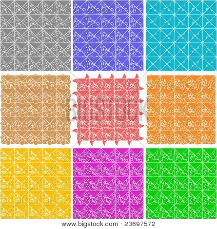 Set of elegant retro seamless patterns