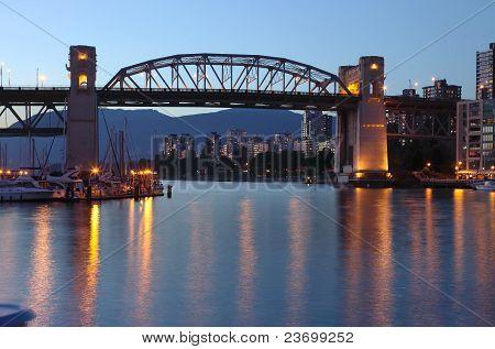 Burrard Bridge At Dusk Vancouver Bc.,canada.