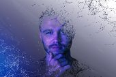 Abstract Polygonal Portrait Of Handsome European Guy. Cyberspace And Future Concept. Double Exposure poster