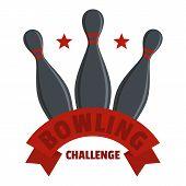 Bowling Challenge Logo. Flat Illustration Of Bowling Challenge Vector Logo For Web poster