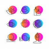 Set Of Icons Relaxation, Meditation, Zen, Rest. Symbols Spa - Massage, Stones, Candles, Yoga Relax A poster