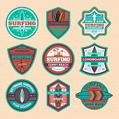 Extreme Surfing Camp Vintage Isolated Label Set. Surfing Competition, Summer Beach Game Championship poster