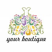 Boutique, Bridal, Dress, Floral Vibrant Colorful Logo Template Illustration Vector Whimsical Design poster