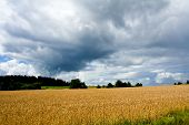 stock photo of gleaning  - Stormy weather over a rural landscape harvest autumn field agriculture - JPG