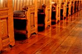 Empty Old Church Pews