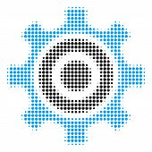 Cogwheel Halftone Vector Icon. Illustration Style Is Dotted Iconic Cogwheel Icon Symbol On A White B poster