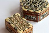 stock photo of nac  - a pair of marquetry boxes - JPG