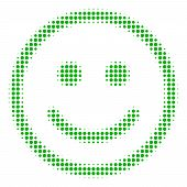 Glad Smiley Halftone Vector Icon. Illustration Style Is Dotted Iconic Glad Smiley Icon Symbol On A W poster