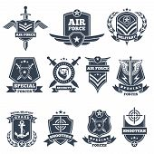 Military Logos And Badges. Army Symbols Isolated On White Background. Military Badge, Special Force  poster