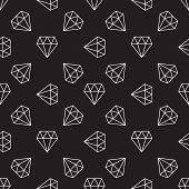 Dark Seamless Pattern With White Diamonds. Vector Background Made With Diamond Icons In Thin Line St poster