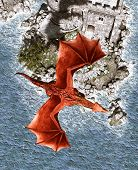 3d Fantasy Dragon In Mythical Island,fantasy Fairy Tale Of Sea Monster,3d Rendering For Book Cover O poster