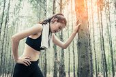 Asian Beauty Woman Tiring From Jogging In Forest. Lean On Tree. Towel And Sweat Elements. Sport And  poster