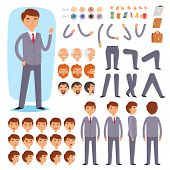 Businessman Constructor Vector Creation Of Male Character With Manlike Head And Face Emotions Illust poster