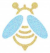 Bee Collage Of Round Dots In Various Sizes And Color Tints. Round Dots Are Grouped Into Bee Vector C poster