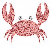 Crab Collage Of Circle Dots In Variable Sizes And Color Tints. Circle Dots Are Grouped Into Crab Vec poster
