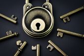 Security Or Secret Protection Concept, Vintage Brass Padlock Surrounded By Multiple Keys On A Dark B poster