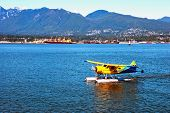 picture of float-plane  - Parked float plane in Vancouver BC Canada Stock Photos - JPG