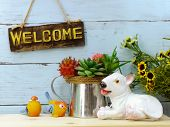 Welcome Sign And Home Decor With Space Copy Background poster