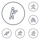 Set Of 6 Athletic Icons Line Style Set. Collection Of Athletics, Wrestling, Football And Other Eleme poster