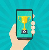 Online Award Goal Achievement Vector, Mobile Phone And Success Winner Holding Golden Cup Prize, Firs poster