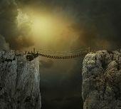 Fantasy Landscape With Cliffs And Bridge. Photo Manipulation. 3d Rendering. poster