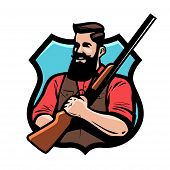 Hunter Holds Shotgun In His Hands. Gun Shop, Hunting, Hunt Concept. Cartoon Vector poster