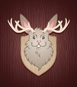 pic of buck teeth  - A Jackalope mounted on the wall - JPG